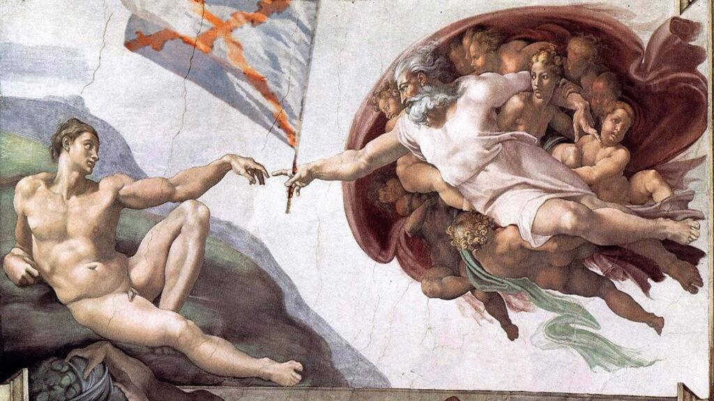 Bůh předává prapor Adamovi